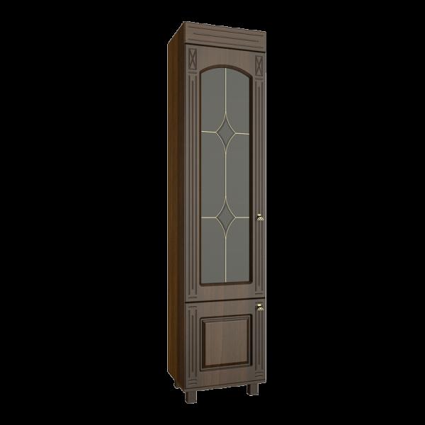 Шкаф-витрина от производителя Компасс-мебель Элизабет ЭМ-4 Цвет орех темный