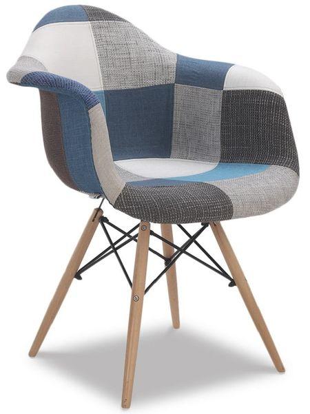 Стул мягкий от производителя Aura (в стиле Eames) Цвет синий пэчворк