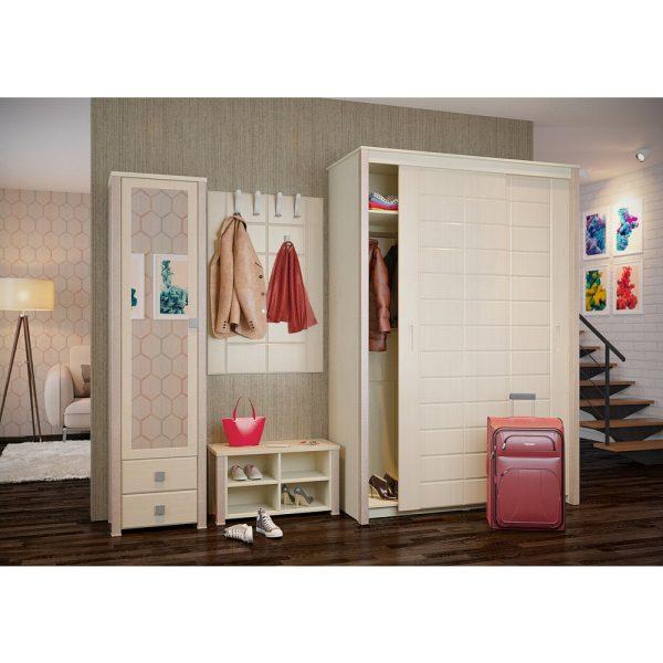 Модульная стенка для прихожей от производителя Компасс-мебель Изабель Цвет клен, береза снежная