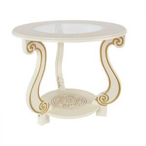 Стол журнальный от производителя Мебелик Грация С Цвет золото, слоновая кость