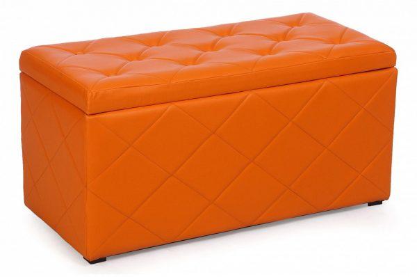 Банкетка-сундук в прихожую от производителя Мебельстория Ромби-3 Цвет оранжевый