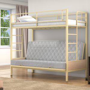 Двухъярусная кровать диван Дакар , верхнее спальное место 90х190 см. нижнее в разложенном виде 125х186 см., прочный стальной каркас, покрашен безопасной не имеющей запаха порошковой краской. Цвета на выбор: коричневый, черный, слоновая кость,серый. Дополнительно комплектуется выдвижными ящиками, материал ЛДСП 16 мм., цвета на выбор: дуб молочный или венге. Два варианта исполнения с боковыми лестницами и съемной спереди.