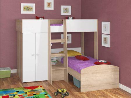 Двухъярусная кровать от производителя Golden Kids-4 (90х200) Цвет дуб сонома, белый