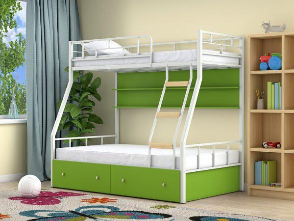 Двухъярусная кровать от производителя Радуга 90х190/120х190 Цвет зеленый