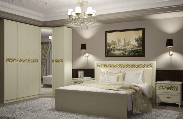 Гарнитур для спальни от производителя Заречье Ливадия Цвет weave светлый