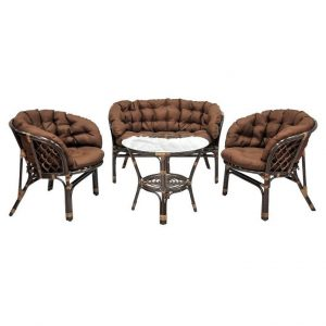 Комплект мебели (стол+2 кресла+диван)кофейный EcoDesign «Багама» 03/10 Б (S)