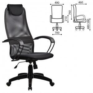 Кресло офисное с эргономичной спинкой Метта цвет черный 80586