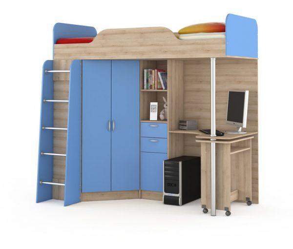 Кровать - чердак от производителя MOBI Ника 427 Т Цвет бук песочный, капри синий