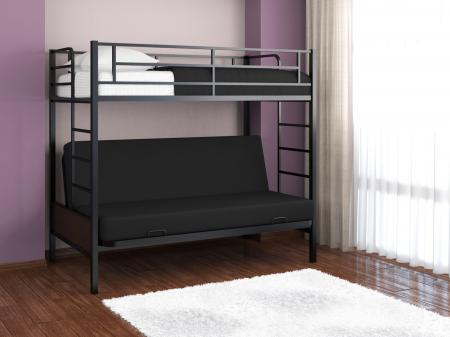 Кровать — чердак с диваном внизу Дакар 2 90х190/185х125 Цвет черный