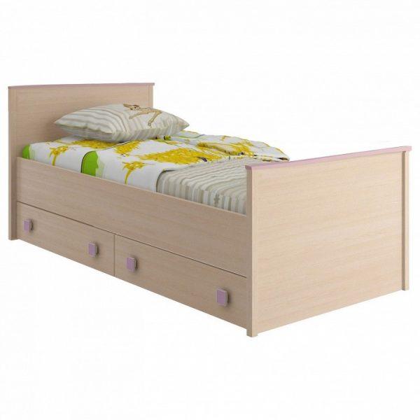 Кровать детская от производителя Интеди Пинк 1 ИД 01.94 Цвет дуб млечный, розовый