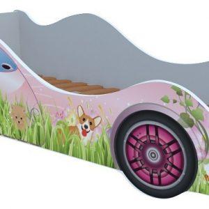 Кровать-машина от производителя Кровати-машины Собачки на лужайке M063 Цвет розовый с цветным рисунком