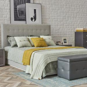 Кровать в минималистичном стиле Джейн 140 x 200 цвет Серебристо-серый