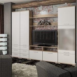 Модульная гостиная Вейла К-05 цвет Дуб каньон светлый, Белый полуглянец