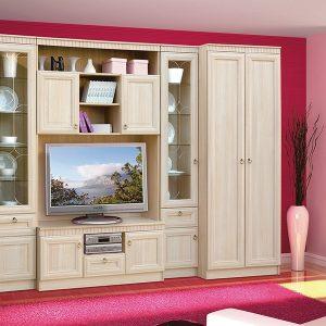 Модульная гостиная в классическом стиле Риккарди К-01 Дуб молочный