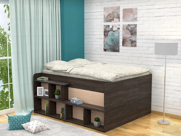 Полутораспальная кровать Правая от производителя Twist UP (140х190) Цвет венге, дуб молочный