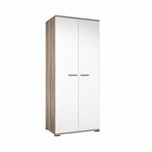 Шкаф для одежды с вместительными модулями Вейла В-03.0 цвет Дуб каньон светлый, Белый полуглянец
