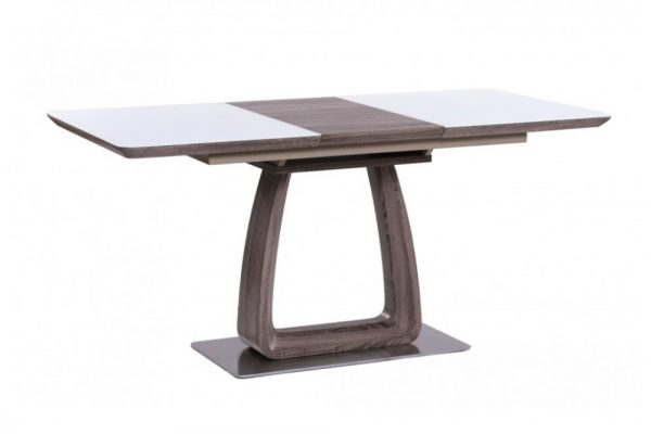 Стол обеденный раздвижной от производителя Avanti Vetro Цвет белый сатин, кэмел