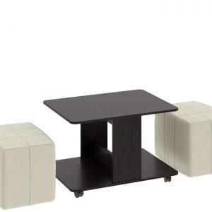 Набор журнальный столик с 2 пуфами КАПРИ Цвета венге