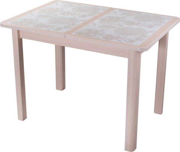 Стол обеденный с плиткой и мозаикой от производителя Домотека Каппа ПР Цвет бежевый с рисунком, дуб молочный