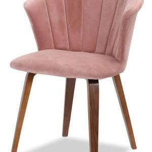 Стул мягкий от производителя Tiffany Цвет розовый велюр/орех