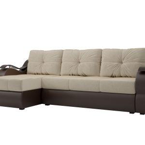 Угловой диван из искусственной кожи от производителя Меркурий Левый Цвет бежевый
