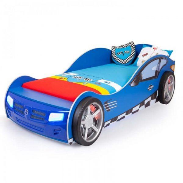 Кровать-машина от производителя ABC KING Formula Цвет синий с рисунком
