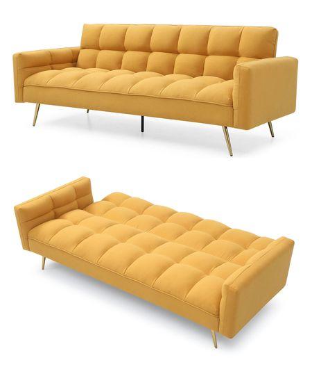Диван-кровать от производителя Madrid Цвет желтый, золотые ножки