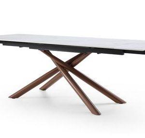 Стол раскладной от производителя Ravenna 180-240 Цвет белая керамика/орех