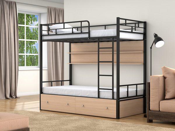 Двухъярусная кровать от производителя Валенсия (90х190/90х190) Цвет дуб молочный, черный
