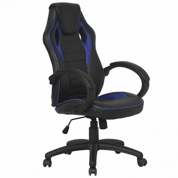 Компьютерное кресло из экокожи Сostway Цвет черный, темно-синий HW54590BL