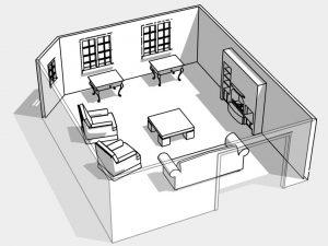 Круговая расстановка мебели