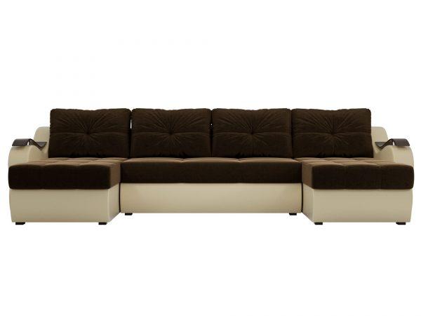 Диван-кровать П-образный от производителя Меркурий Цвет коричневый, бежевый