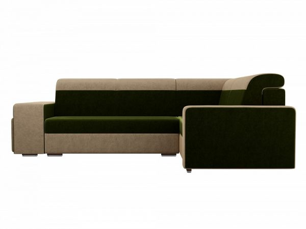Угловой диван-кровать с двумя пуфами от производителя Мустанг Правый Цвет зеленый, бежевый